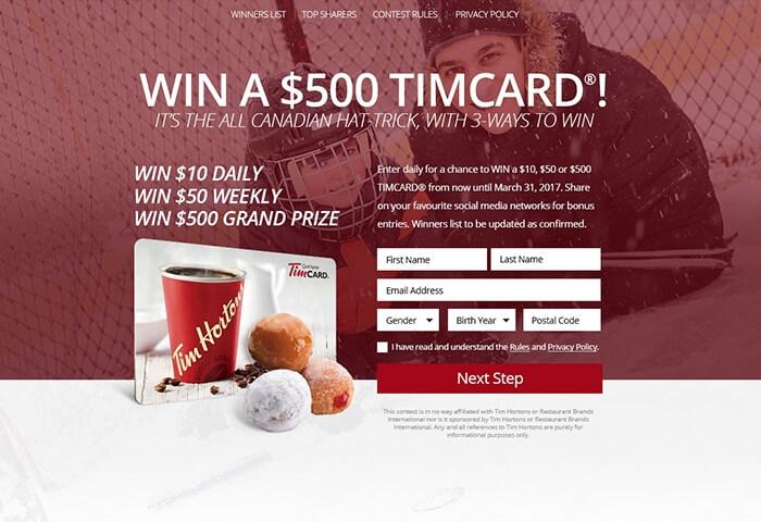 Win a $500 Tim Card